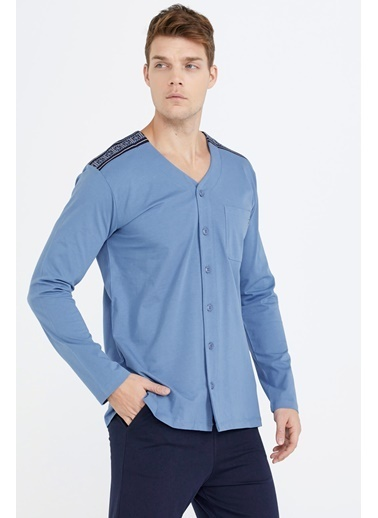 Sementa Erkek Omuz Detaylı Pijama Takımı  Mavi